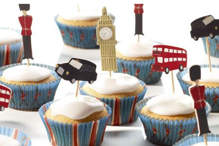 cute cupcakes with a London theme
