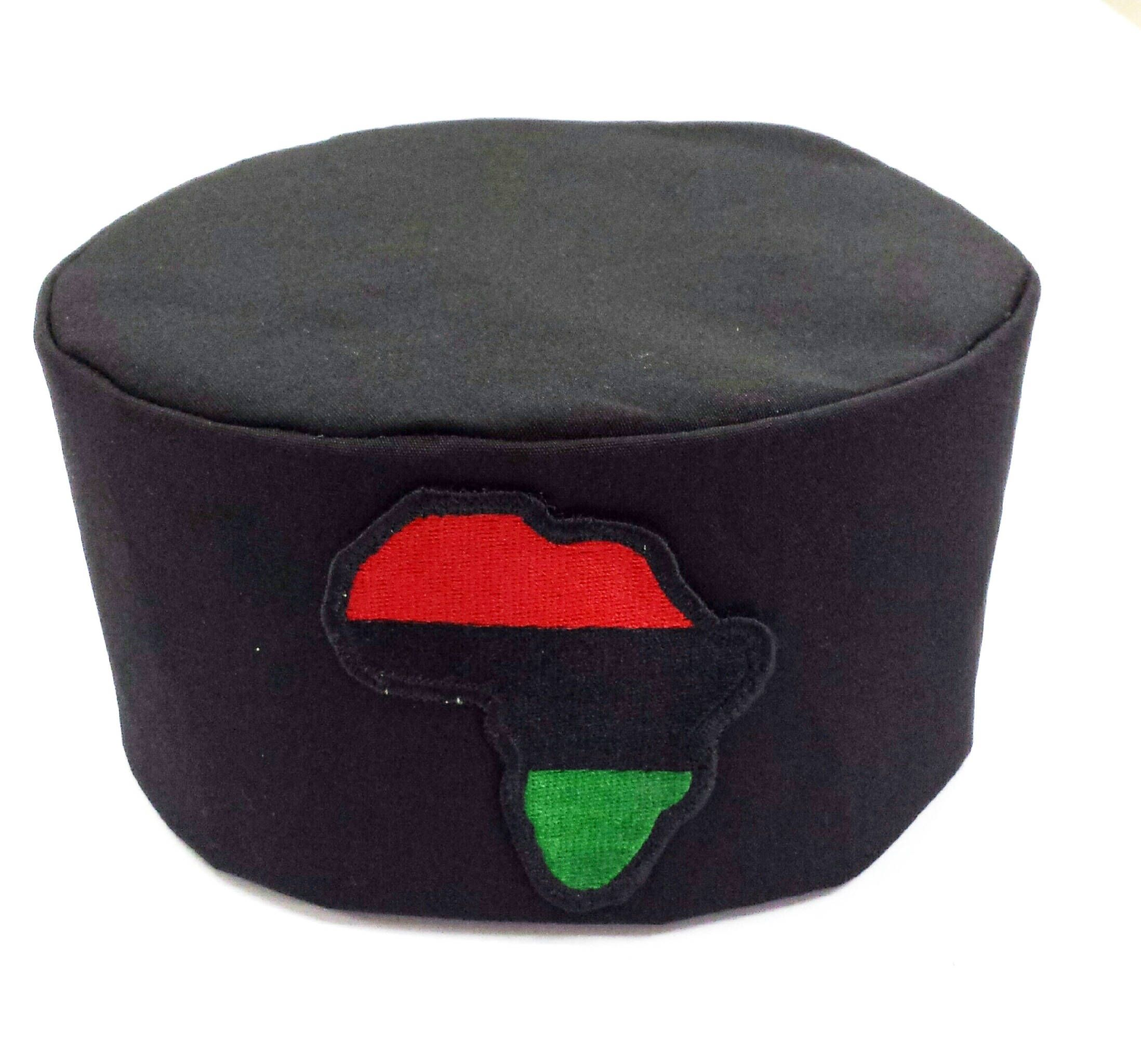 African Black Hat Kufi Map Of Africa Patch 100 Cotton All Sizes Free Shipping By Africaqueenbe On Etsy African Hats African Map Africa Map