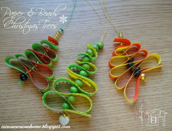 Paper Christmas Trees (paper and beads) Winter Crafts Pinterest