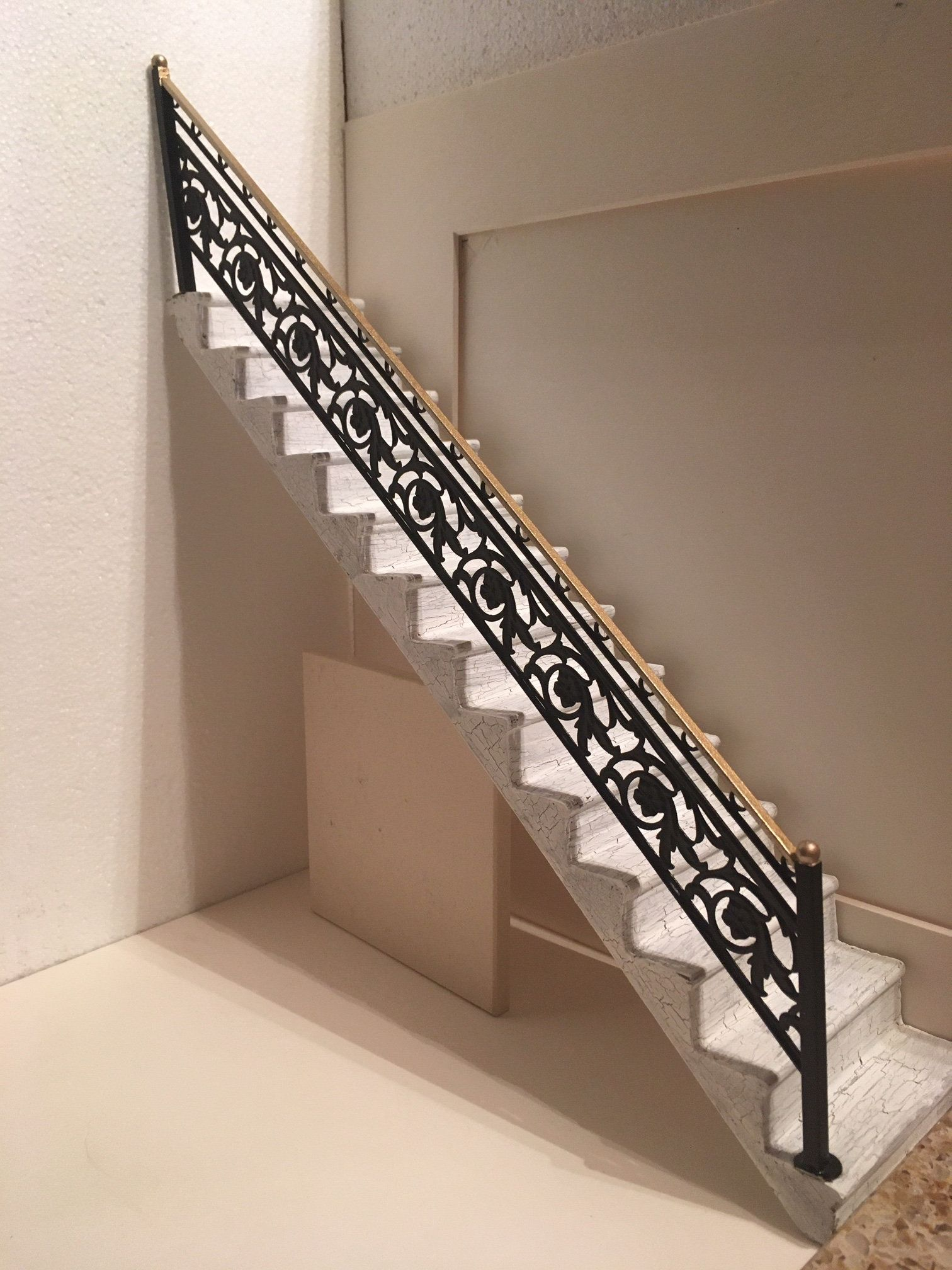 Dollhouse Miniature Handcrafted 1 12 1 Inch Scale Staircase With Metal Railing Ooak By Miniatureironworks On E In 2020 Metal Handrails Metal Railings Wood Stairs