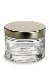 ec5472365284 Clear Glass Heavy Wall Balm Jars with Gold Metal Foam Lined Lids - 1 ...
