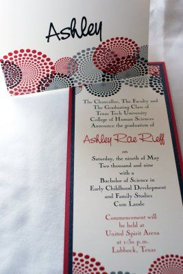 Graduation invitations im so crafty pinterest texas tech ashley rieff texas tech graduation announcements and stationary filmwisefo