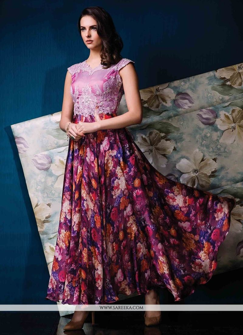 10568d5a3286cf Multi Colour Satin Print Work Designer Gown #Gown, #Party, #Festive, #Floral,  #Printed