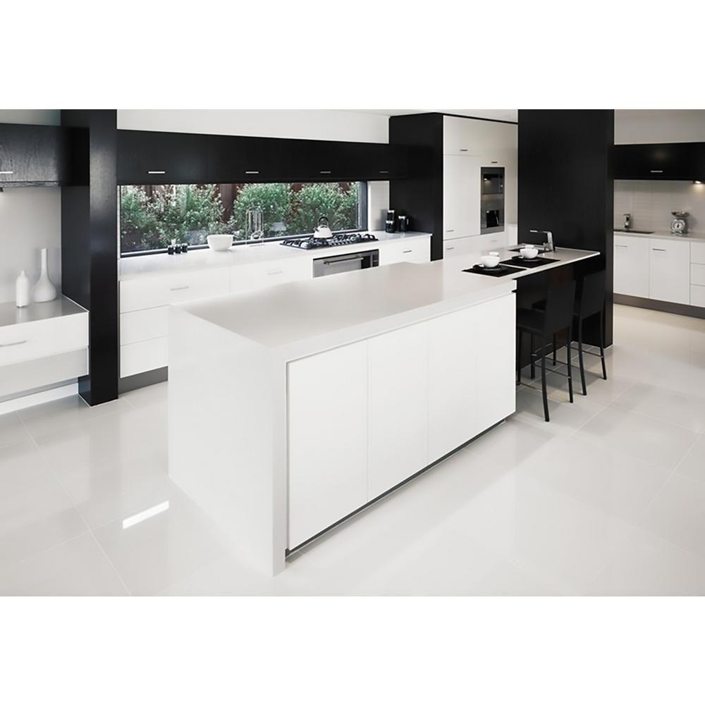 Miami White Gloss 32 In X 32 In Rectified Glazed Porcelain Floor Tile 20 65 Sq Ft 8000 T White Porcelain Tile White Kitchen Floor Kitchen Remodel Small