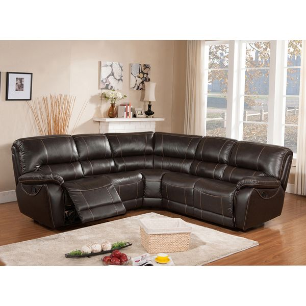 Regency Brown Italian Leather Motorized Reclining Sectional Sofa    Overstock Shopping   Big Discounts On Sectional Sofas