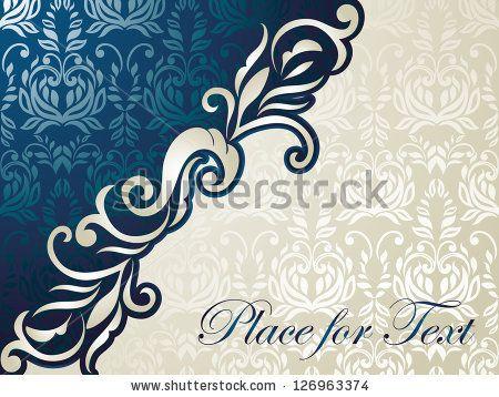 Luxury Duo Silk Silver Blue Card Fl Background Seamless Wedding Invitation Menu