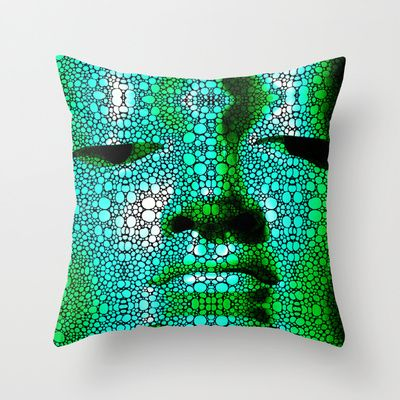 Green Buddha - Stone Rock'd Art By Sharon Cummings Throw Pillow by Sharon Cummings