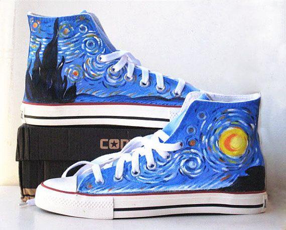 6b2e8cadb69b4 Van Gogh Painted Custom Converse Sneakers Hand Painted, 100% hand ...