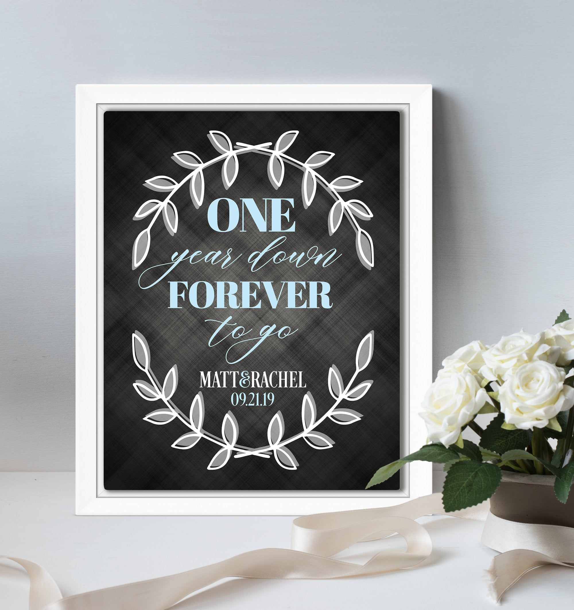 First Anniversary Gift For Her 1 Year Wedding Anniversary Etsy In 2020 Anniversary Gifts For Couples Anniversary Gifts Personalized Canvas Wall Art