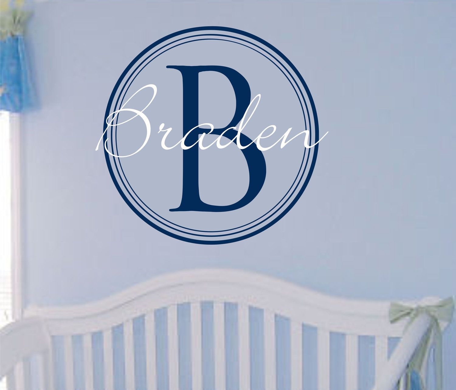 Baby Boy Name Wall Decal Nursery Monogram Decals For Boys Vinyl Lettering Decor Circle Initial Personalized