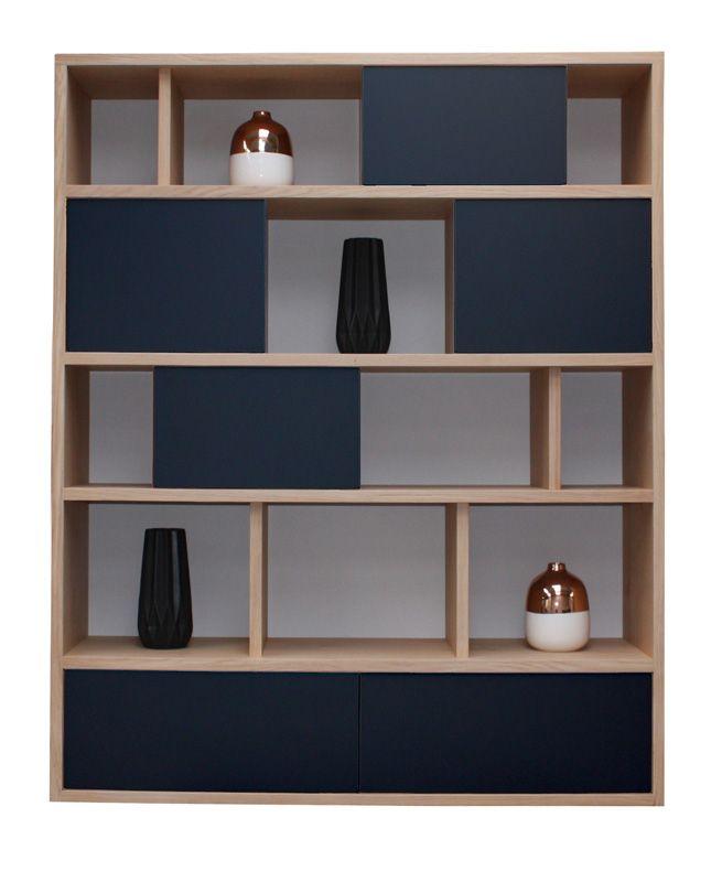 65440 biblioth que alv oles 4 portes coulissantes 3 tiroirs ch ne blanchi laqu noir gris - Pirotais meubles ...