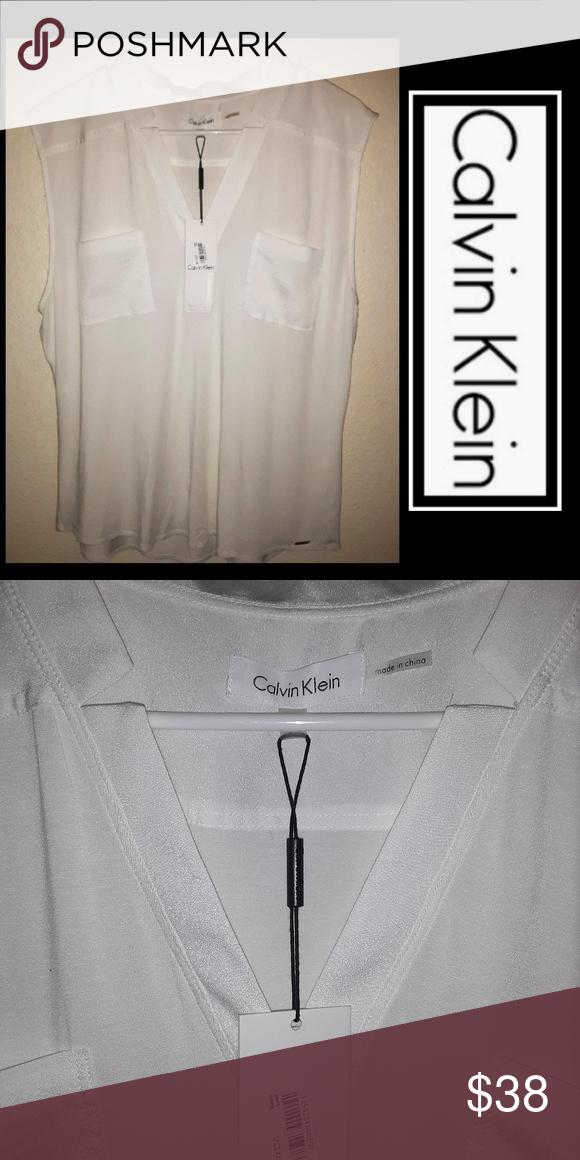 New Calvin Klein Linen Blouse Beautiful So Soft No Wrinkles Macy S Calvin Klein Tops Blouses Linen Blouse Calvin Klein Calvin