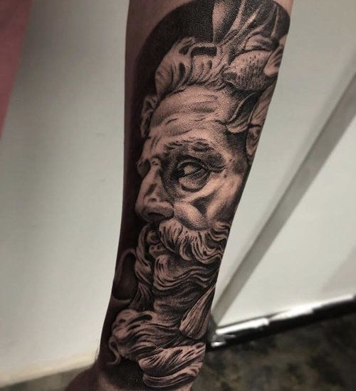 Custom Black And Gray Realism Zeus Tattoo By Ramon At Certified Tattoo Studios Denver Co Jpg Tattoo Studio Tattoos Zeus Tattoo