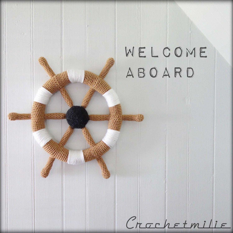Crochet sailor wall deco boat helm de la boutique Crochetmilie sur ...