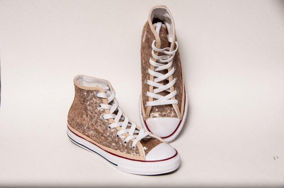 562df8bc8346 Kids - Youth - Champagne Gold Sequin Converse® Canvas Hi Tops Sneakers  Tennis Shoes by Princess Pump