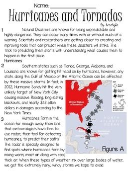 Hurricanes and Tornados Text and Question Set - FSA/PARCC-Style ELA ...