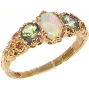 Ladies Solid 14ct Rose Gold Natural Fiery Opal English Victorian Style Trilogy Ring 0Qrxeh