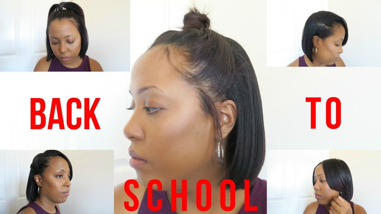 9 Heatless Back To School Hairstyles For Relaxed And Natural Hair Youtube Short Relaxed Hairstyles Relaxed Hair Natural Hair Styles