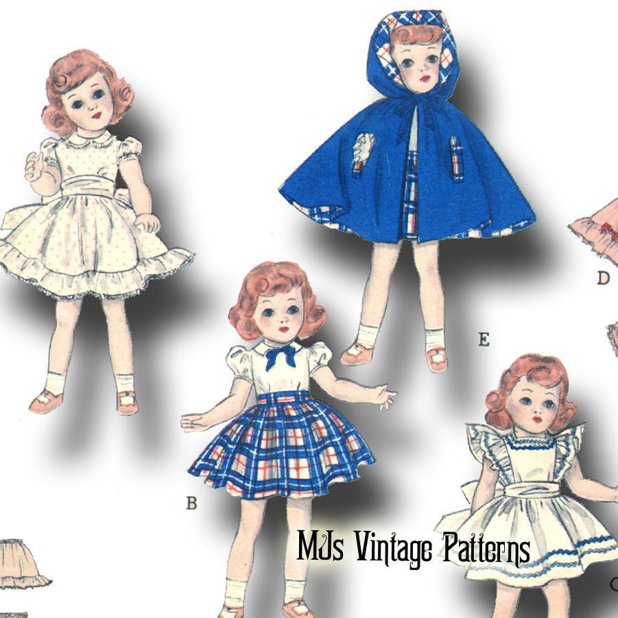 "Toni Doll Clothes Dress Pattern Sweet Sue Cissy Vtg 1950s 18/"" for Miss Revlon"