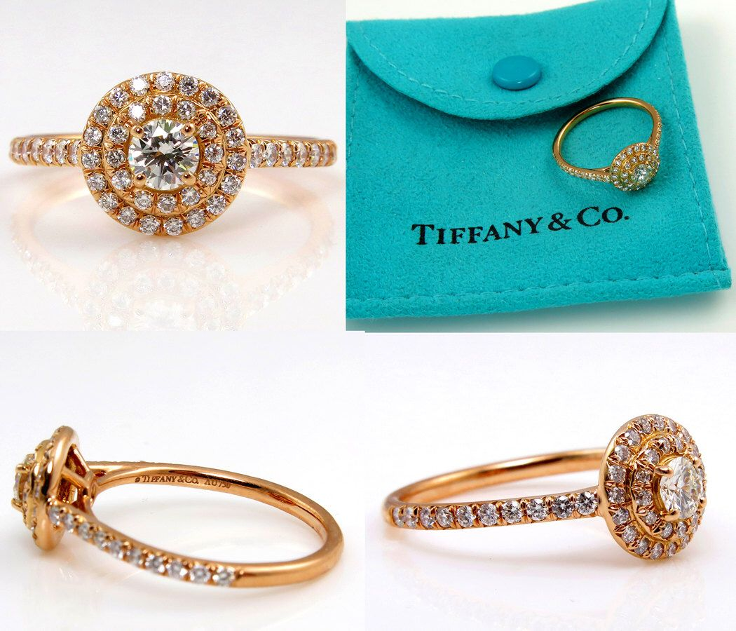 TIFFANY & Co Authentic SOLESTE Round Diamond ENGAGEMENT Wedding Halo 18k Rose Gold Ring by TreasurlybyDima on Etsy https://www.etsy.com/listing/242064063/tiffany-co-authentic-soleste-round