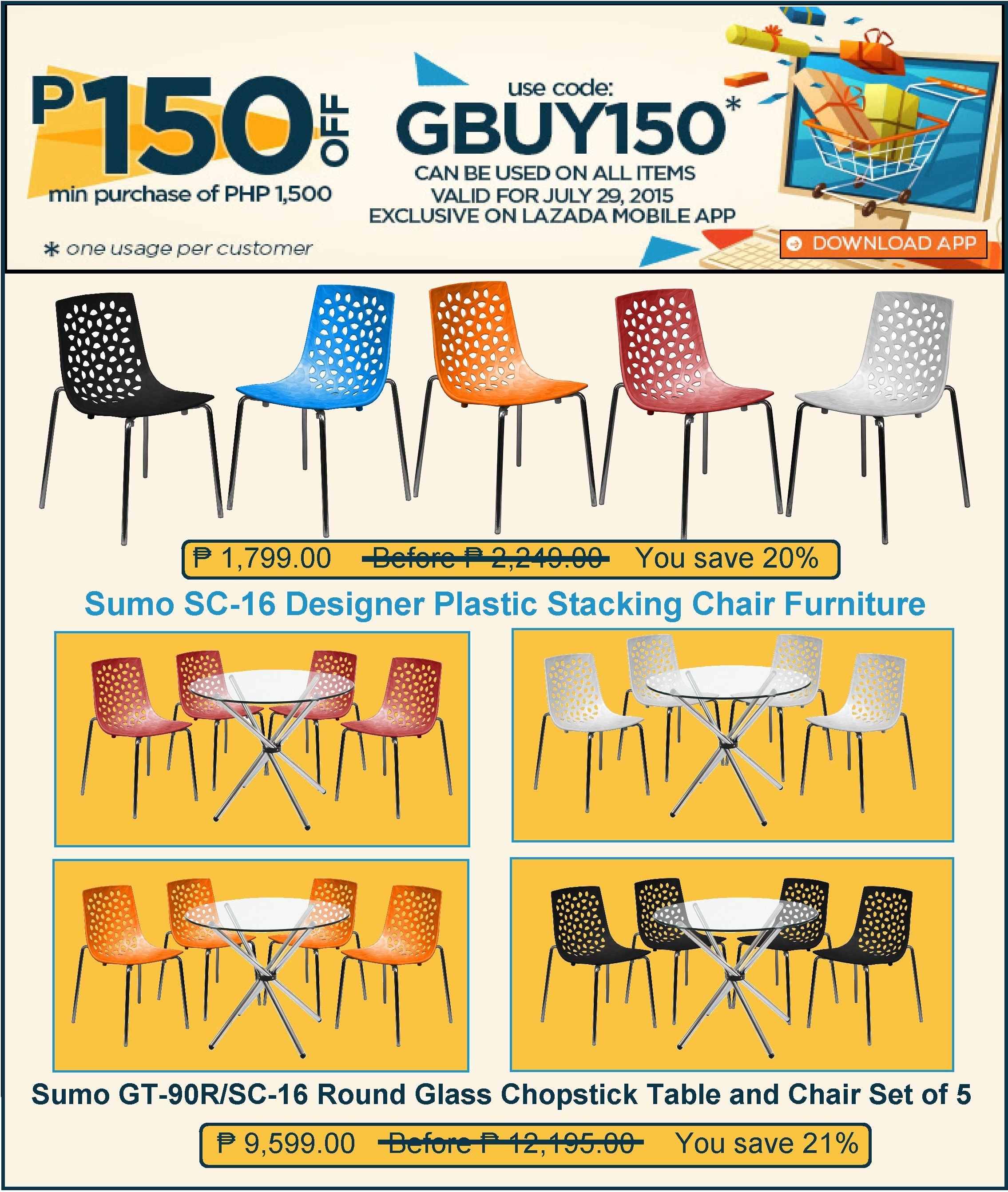 restaurant furniture sale lazada s good buy july promo save p150