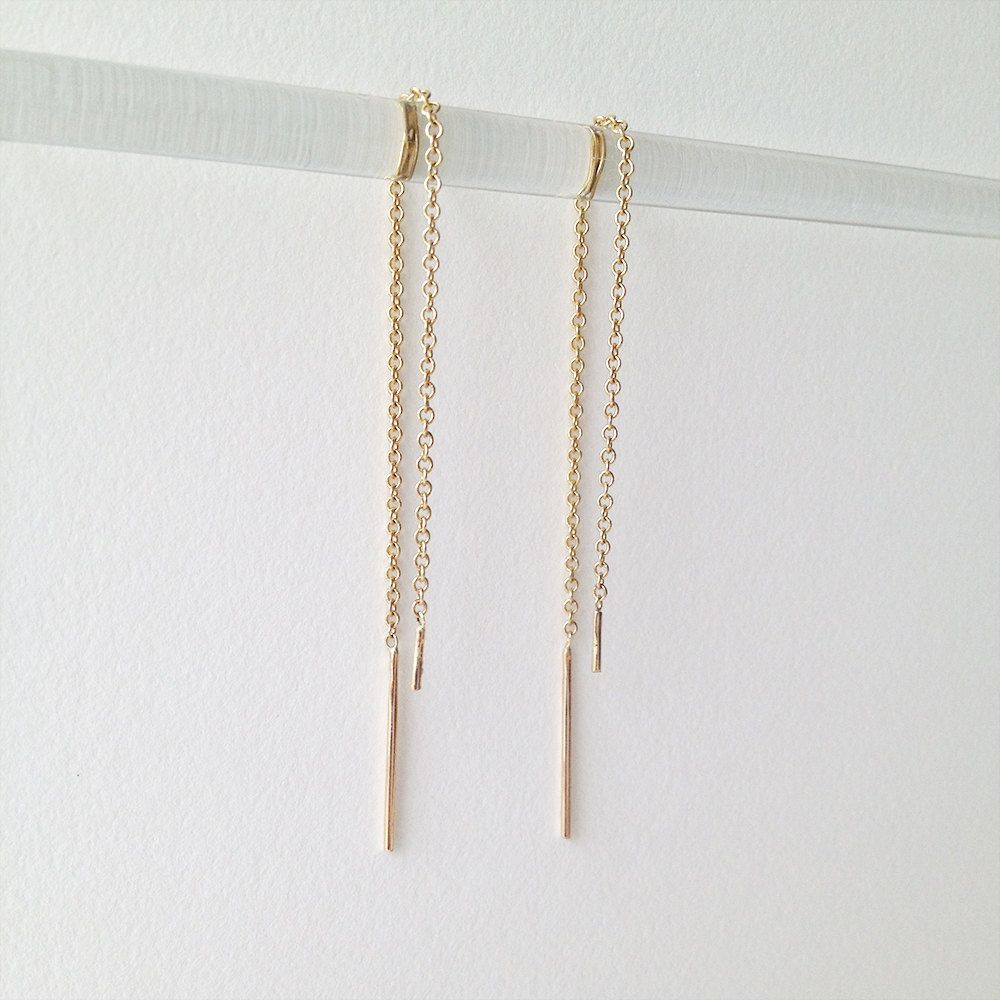 dany ear threads • • traditional threader earrings in solid gold ...