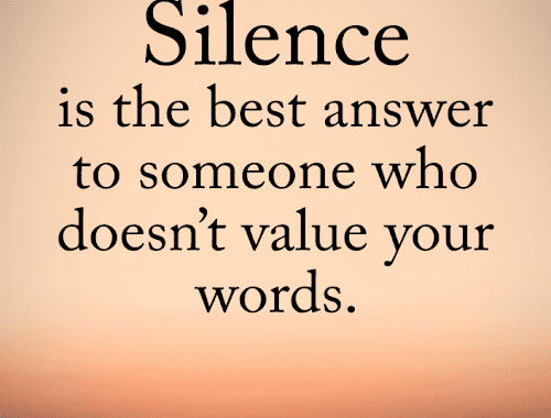 Silence Quotes Silence Is The Best Answer To Someone Who Doesn T Value Your Words Silence Quotes Words Quotes Silent Quotes
