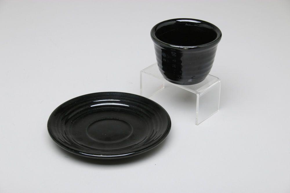 Bauer Pottery Ringware 2 pc. Dessert Cup & Saucer, Black Glaze #BauerPottery