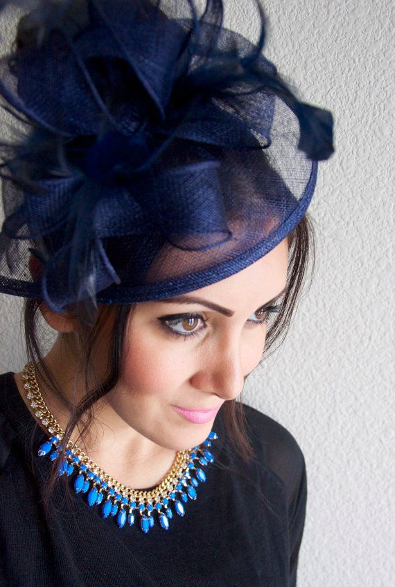 Navy Blue Fascinator Penny Mesh Hat With Ribbons And Feathers