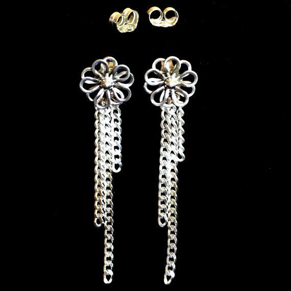 Daisy 2 in 1 Earrings  Sterling Silver by TLHinspired on Etsy