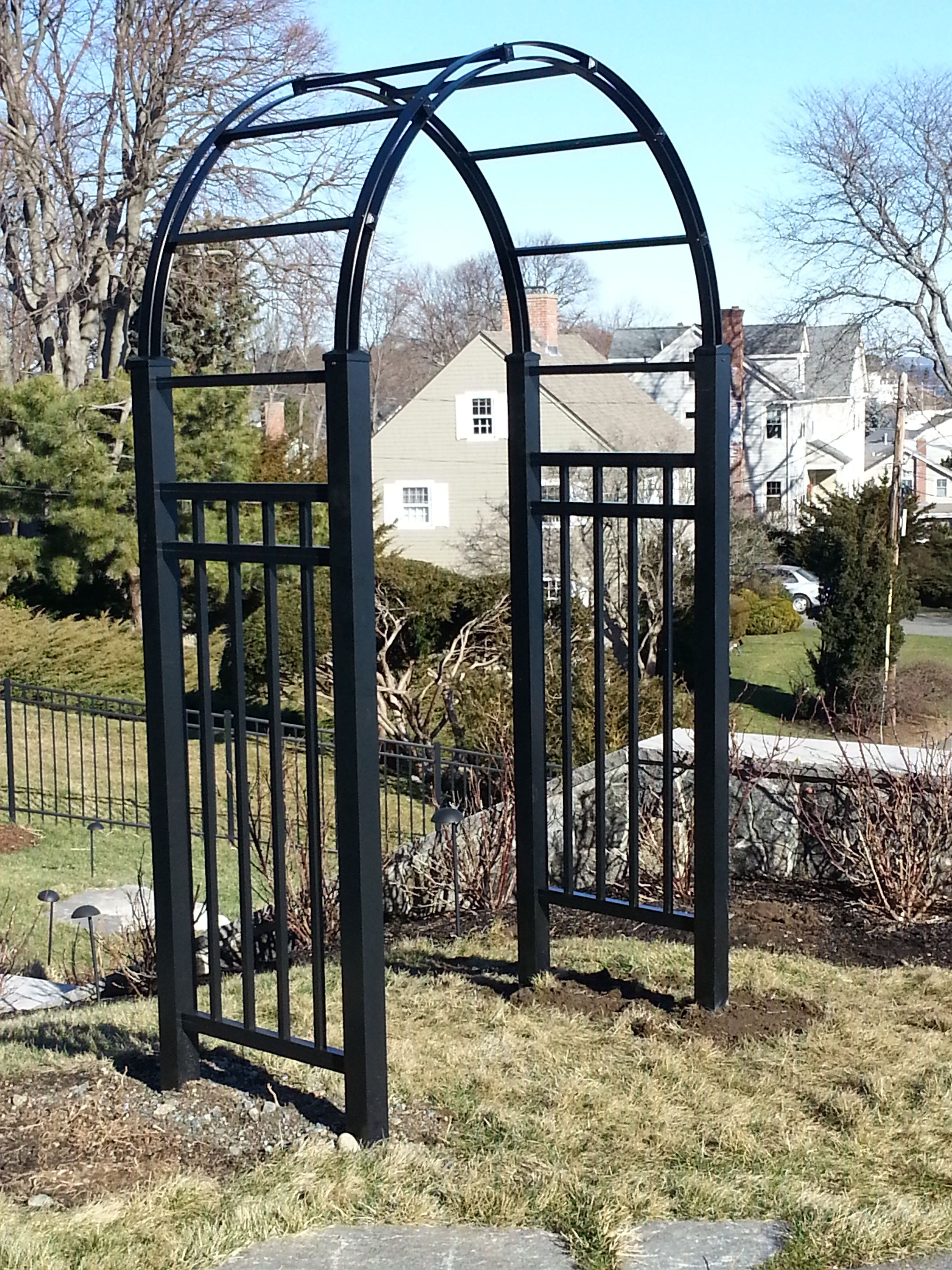 Black aluminum arbor arbors and garden structures for Fence with arbor