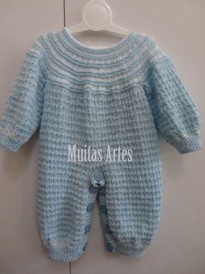 c1dd63b132416 Macacão para Bebê em Tricô — Muitas Artes