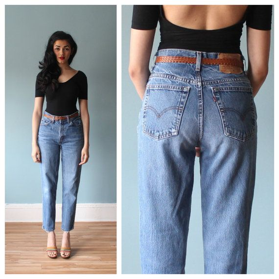 1980's LEE JEANS High WAIST Boyfriend Jeans worn-in blue denim ...