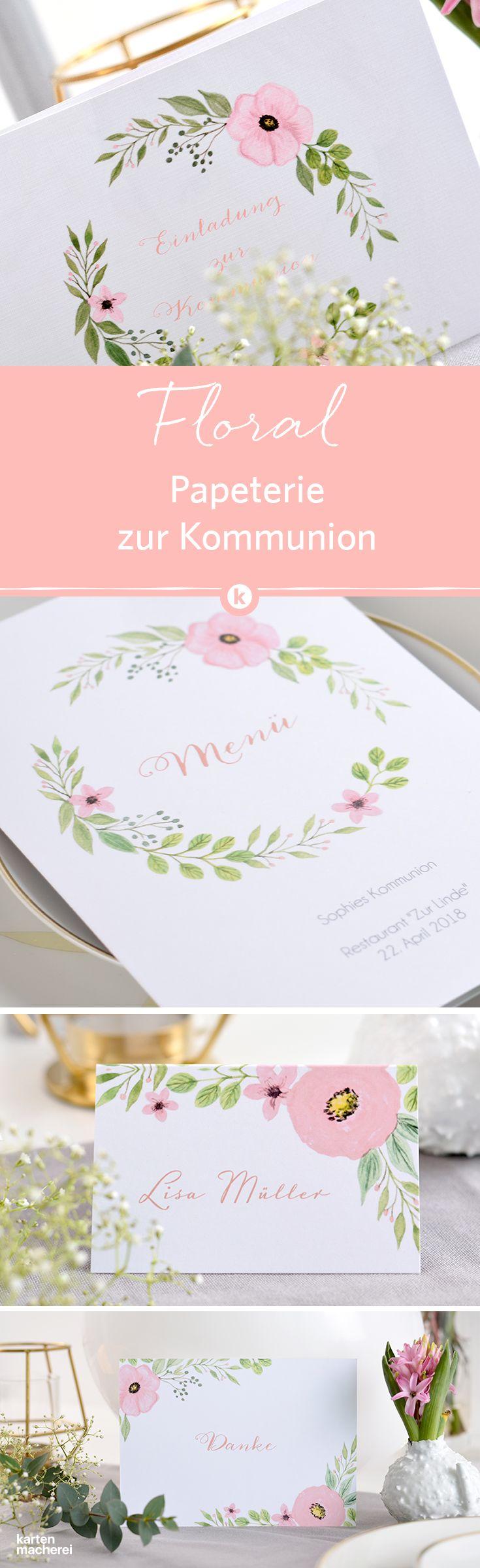Kommunionspapeterie floral hier seht ihr die ganze serie einladung danksagung tisch und menükarte wie richtet ihr die feier aus