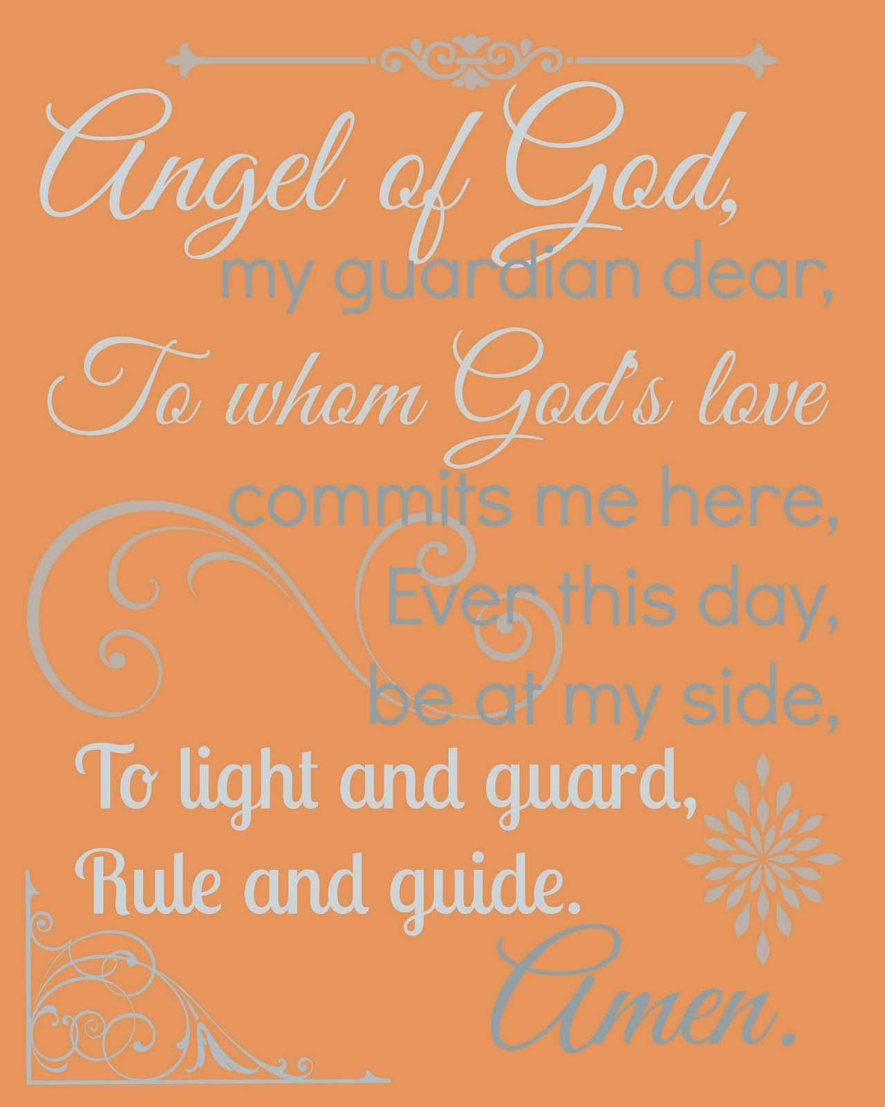 image about Guardian Angel Prayer Printable named Inside of Which there are 7 Free of charge Printable Prayers and hence several