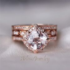 unique 3 rings morganite wedding set solid 14k rose gold engagement ring set - Morganite Wedding Ring Set