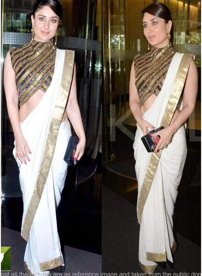 bac7c085a95dc Kareena Kapoor White Heavy Lace Bollywood Saree www.angelnx.com ...