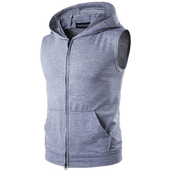 Mens Zip-up Hooded Vest Hoodie Tank Sleeveless Shirt Tops with Hood