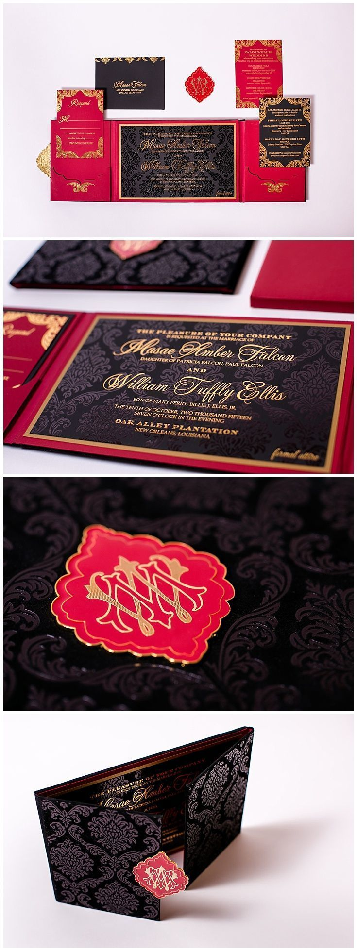 Velvet invitations in red, black and gold. These wedding invitations ...