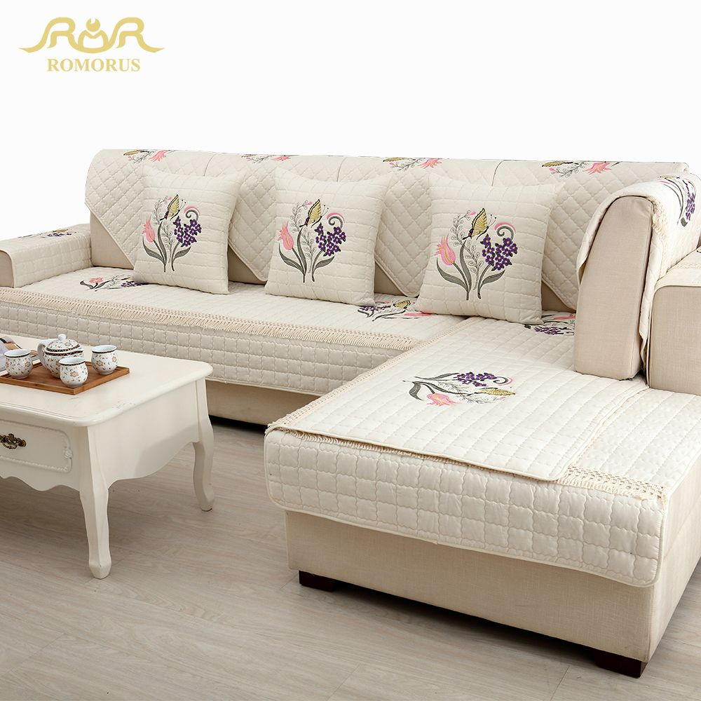High Quality Embroidered Quilted Sofa Covers 1 Piece Sectional Sofa Slipcover Non Slip Twill One Two Thre Sectional Sofa Decor Couch Covers Leather Sofa Covers