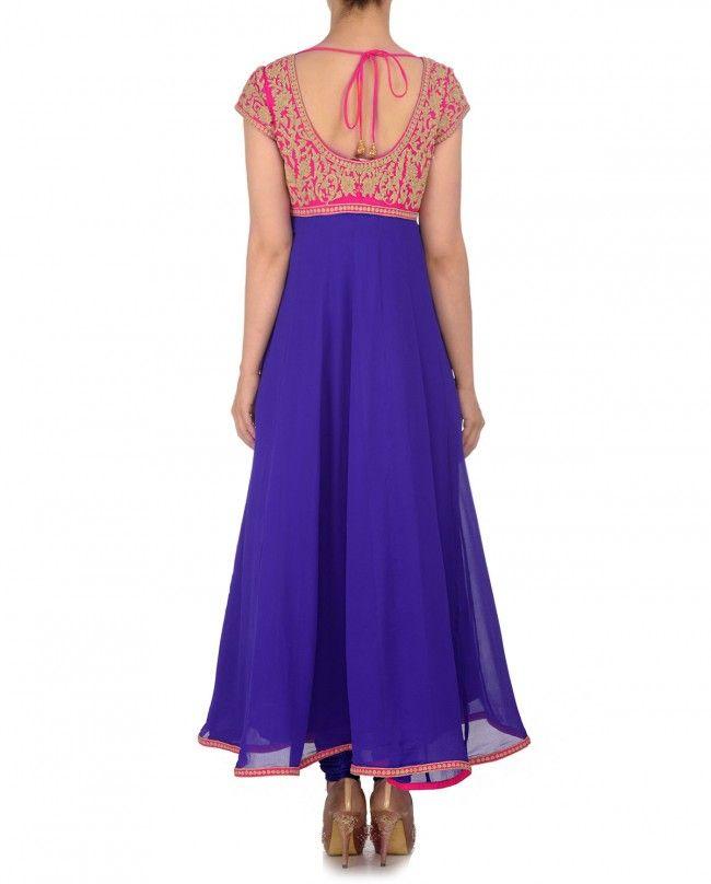 Violet Anarkali Suit with Hot Pink Dupatta | Indian Fashion | Pinterest