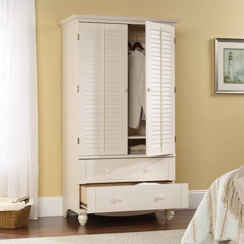 Sauder Harbor View Armoire in Antiqued White | White ...