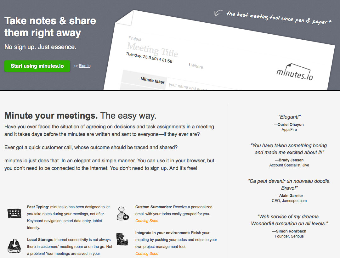 take notes online and share them immediately meeting management