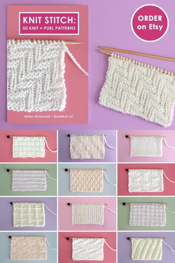 Photo of Knit Stitch Book: 50 Knit + Purl Patterns by YouTuber Studio Knit