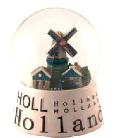 Sneeuwbol Holland wit/kleur 8 cm M16693
