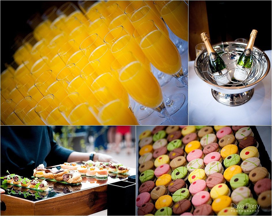 Bucks Fizz, macarons and canapes #gallopinggourmet @GGWeddings