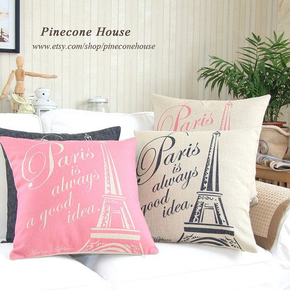 Paris Eiffel Tower Pillow 16 X 16: Paris Eiffel Tower Linen Pillow Burlap Pillow Decorative