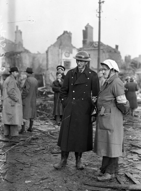The North Strand the morning after the Geman bombing, On the night of 31st May 1941, four high-explosive bombs were dropped by German aircraft on the North Strand area of Dublin City, The casualties were many: 28 dead and 90 injured, with 300 houses damaged or destroyed, 01/06/1941