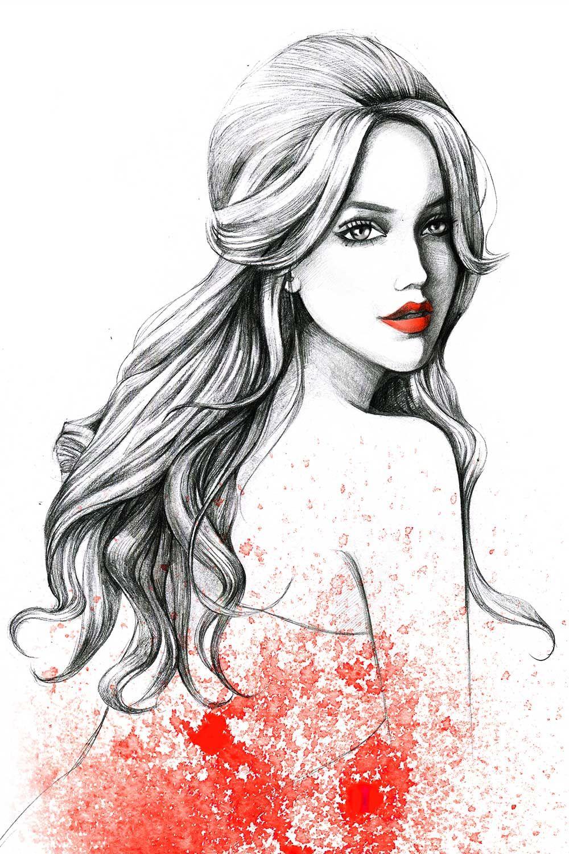 Fashion illustration for gino hair salon by fashion illustrator