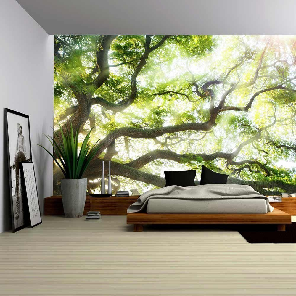 Wall26 Big Tree With Sun Light Removable Wall Mural Self Adhesive Large Wallpaper 100x144 Inches A Large Wall Murals Wall Art Wallpaper Wall Murals